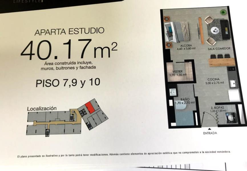 Apartaestudio en Venta en Medellin - El Poblado